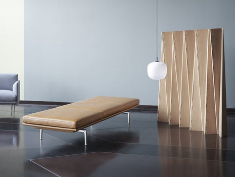 Outline Daybed Without Cushion in Cognac Refine Leather / Aluminium Legs by Muuto