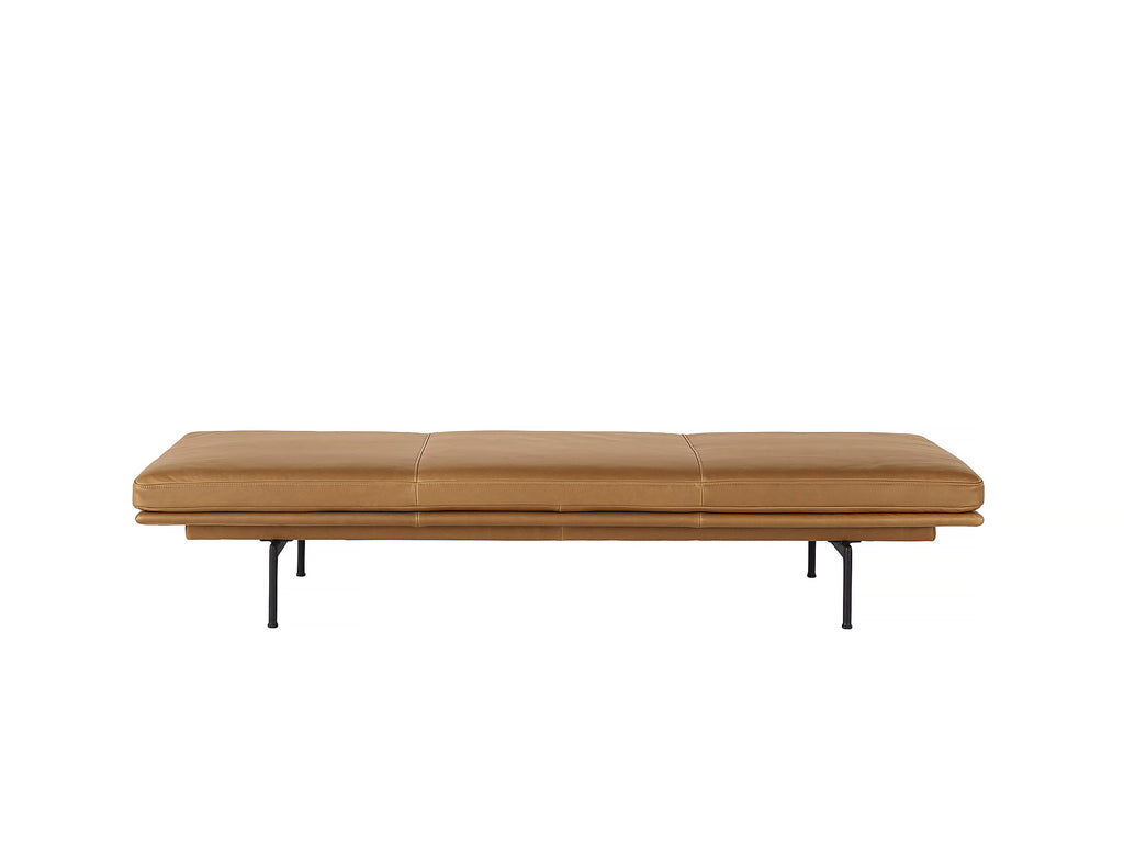 Outline Daybed Without Cushion in Cognac Refine Leather / Black Legs by Muuto
