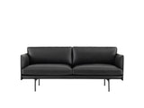 Muuto Outline Sofa, 2 Seat, Black Silk Leather