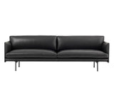 Muuto Outline Sofa, 3 Seat, Black Silk Leather
