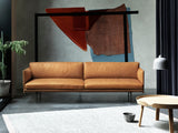 Outline Sofa by Muuto - Three Seater, Cognac Silk Leather