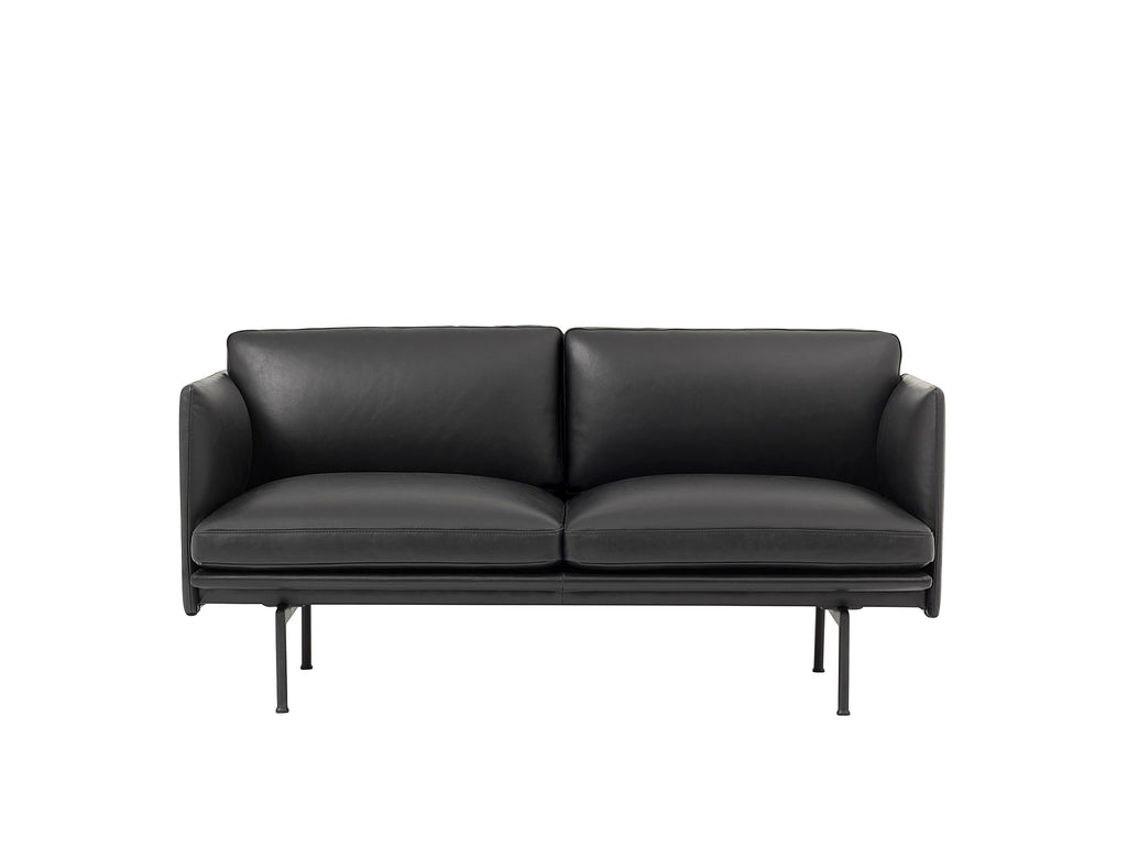Outline Studio Sofa by Muuto, Black Silk Leather