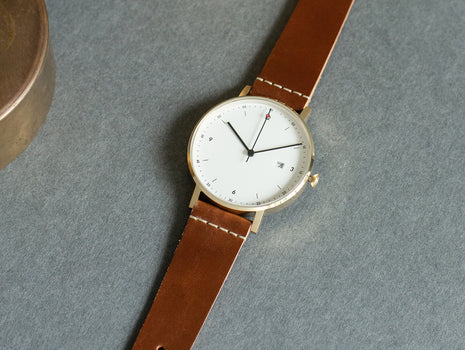PKG01 Horween Edition - Gold and Light Brown by Void Watches
