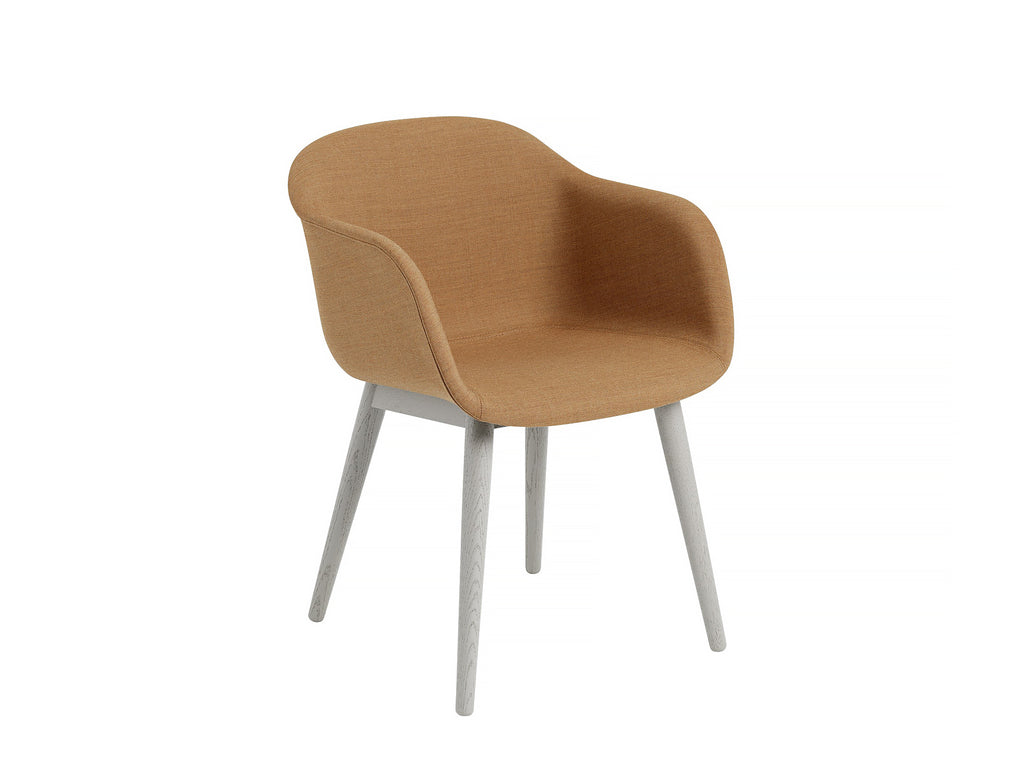 Fiber Armchair Upholstered with Wood Base