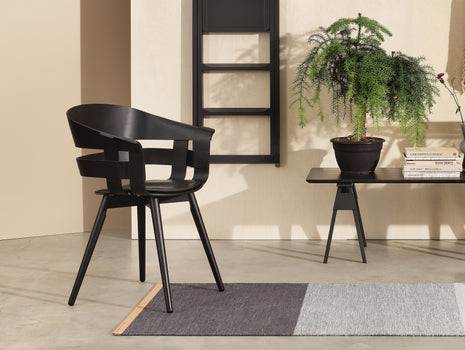Black Textured Leather Wick Chair Seat Cushion by Design House Stockholm