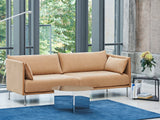 Silhouette Sofa - Chrome base, Linara Spice, Cognac piping