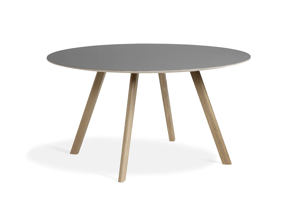 Soaped Oak Grey Linoleum Copenhague Round Dining Table CPH25 by HAY