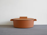 Terra.Cotto Cast Iron - Oval Casserole Pot with Lid (30 cm, Curry)