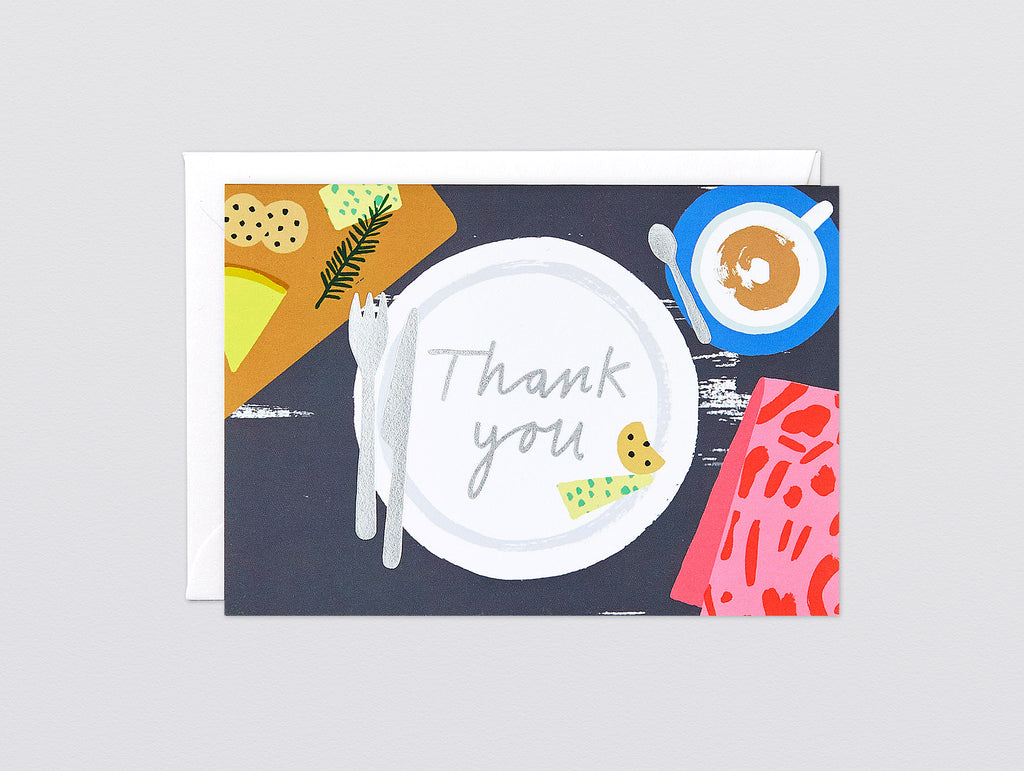 'Thank You Dinner' Foiled Greetings Card by Wrap