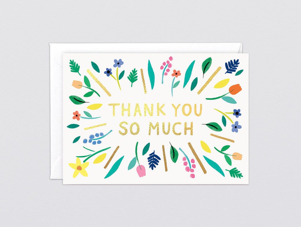 'Thanks So Much Burst' Foiled Greetings Card by Wrap