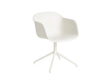 White Fiber Armchair with Swivel Base by Muuto