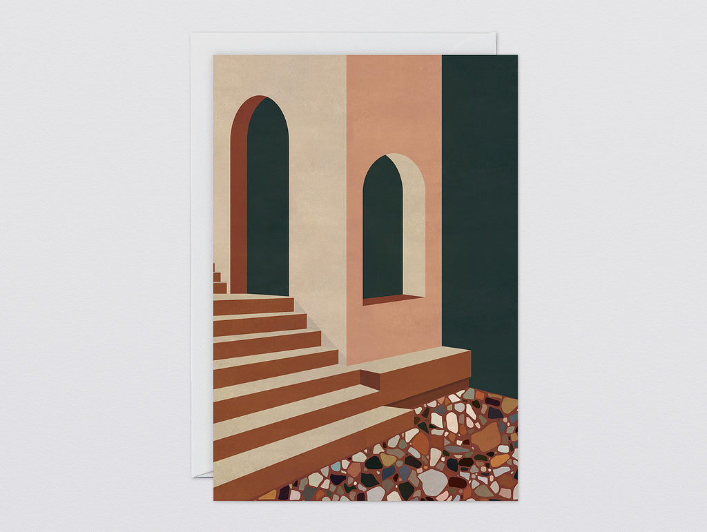 'Terracotta Terrazzo & Stairs' Art Card by Wrap