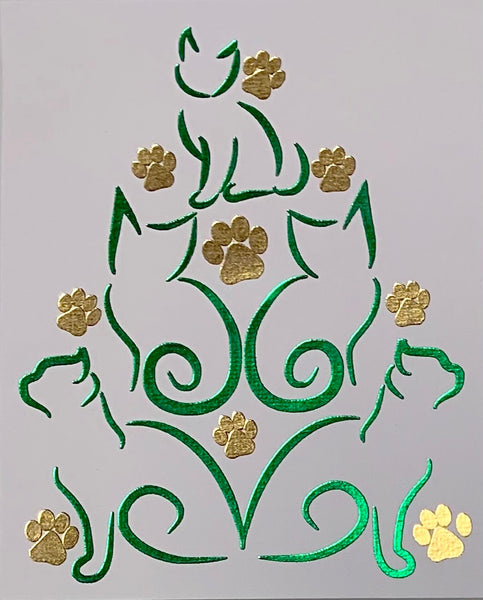 Cats And Paws Christmas Tree Card