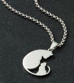 Mummy And Baby Cat Pendant and Chain
