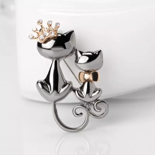 Queen And Prince Cat Brooch