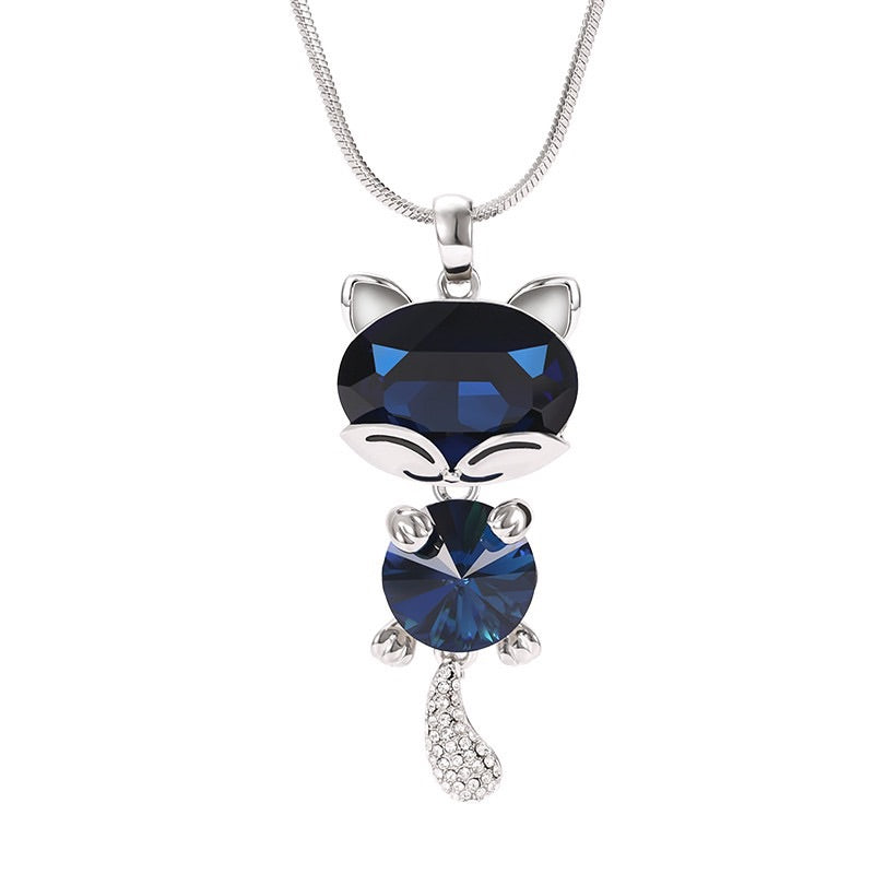 Lovable Crystal Cat Pendant Necklace