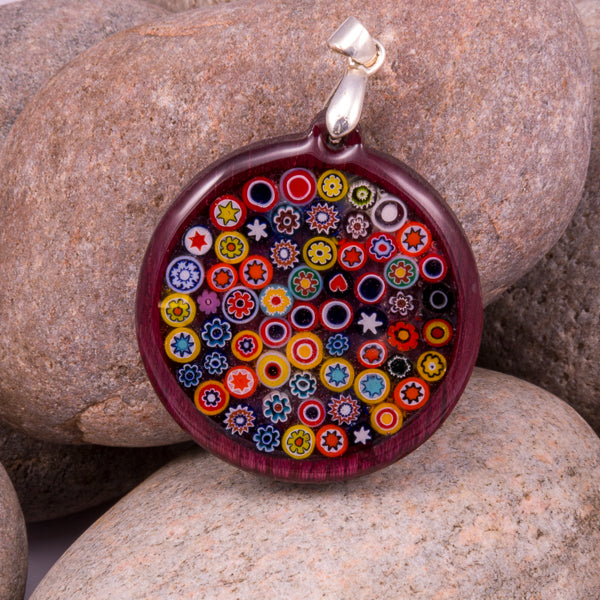 Handcrafted Bespoke Millefiori Pendant; set in contemporary purple heart wood.| Jabbawocky Crafts (jabbawockycrafts.co.uk)