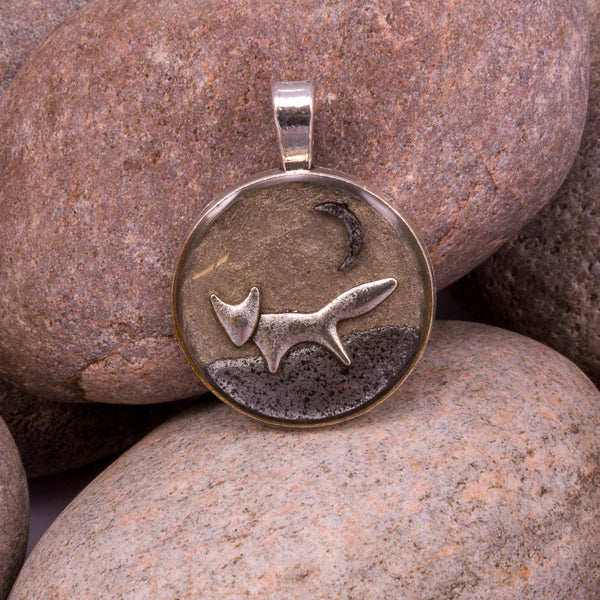 Handcrafted Bespoke Forest Fox Pendant; set in silver effect metal bezel.| Jabbawocky Crafts (jabbawockycrafts.co.uk)