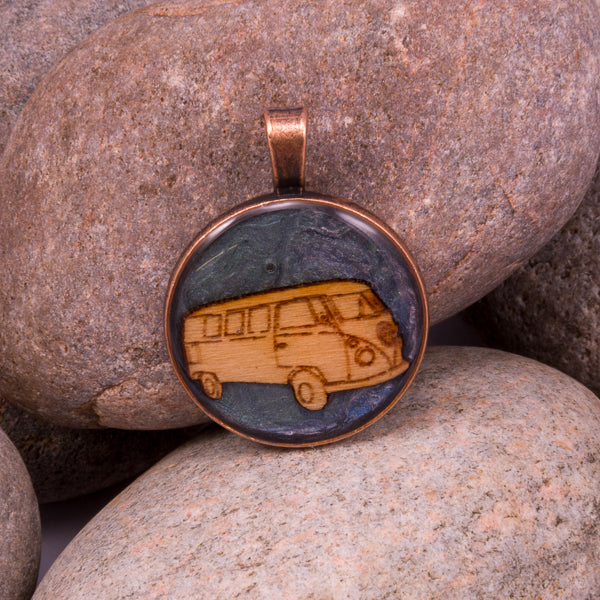 Handcrafted bespoke VW Campervan Pendant; set in copper effect metal bezel. Handmade in Norfolk; a totally unique Pendant