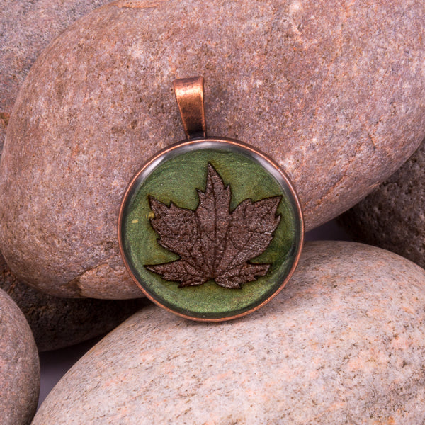 Handcrafted Bespoke Maple Leaf Pendant; set in copper effect metal bezel.| Jabbawocky Crafts (jabbawockycrafts.co.uk)