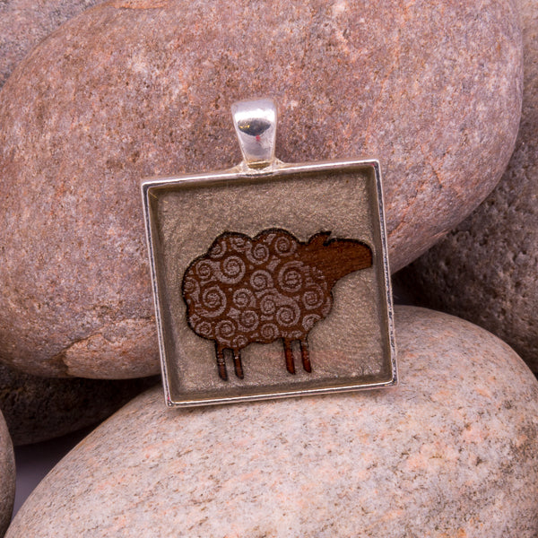 Handcrafted Bespoke Woolly Sheep Pendant; set in a Sheep (made from gilted walnut)| Jabbawocky Crafts (jabbawockycrafts.co.uk)