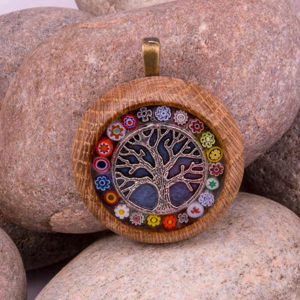 Handcrafted Bespoke Tree of Life Pendant; set in hand-turned oak wood.| Jabbawocky Crafts (jabbawockycrafts.co.uk)