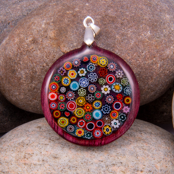 Handcrafted Bespoke Millefiori Pendant; set in hand-turned Purple Heart wood.| Jabbawocky Crafts (jabbawockycrafts.co.uk)