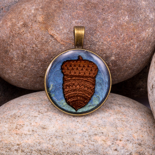 Handcrafted Bespoke Acorn Pendant; set in Bronze Effect metal bezel.| Jabbawocky Crafts (jabbawockycrafts.co.uk)