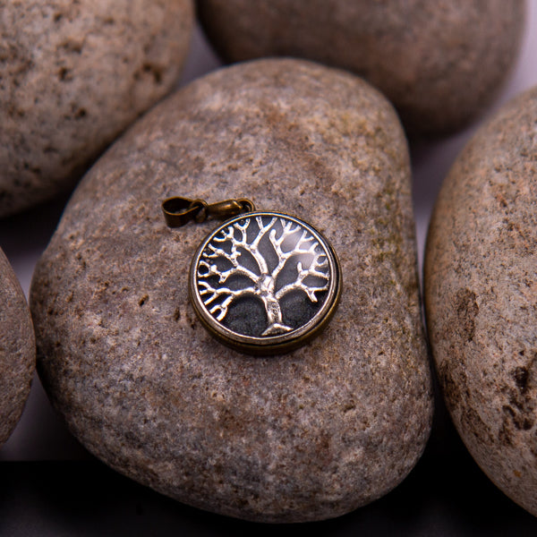 Handcrafted Bespoke Tree of Life (small) Pendant; set in Bronze Effect metal bezel.| Jabbawocky Crafts (jabbawockycrafts.co.uk)