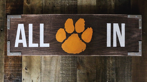 Stencil Stop - Clemson Tigers All In Sign on Wood