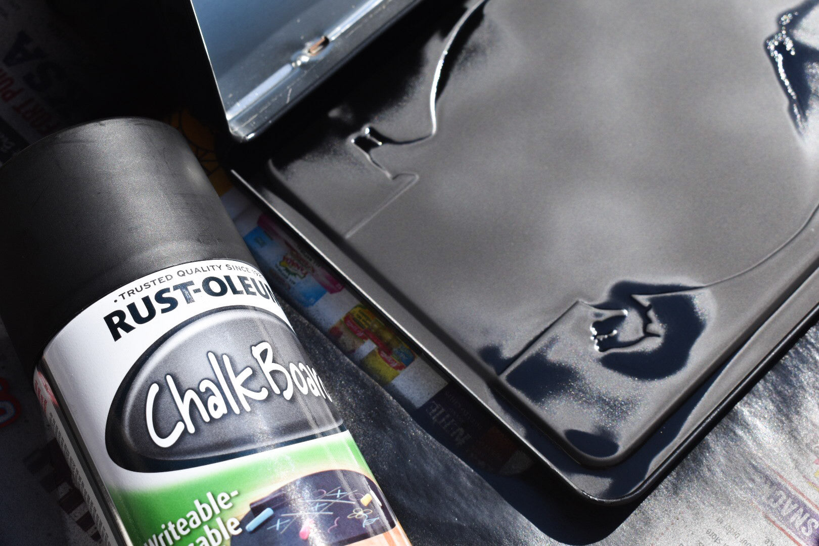 Stencil Stop - Chalkboard Spray Paint Lunchbox DIY Project