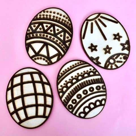 wood etched eggs easter stencils magnets