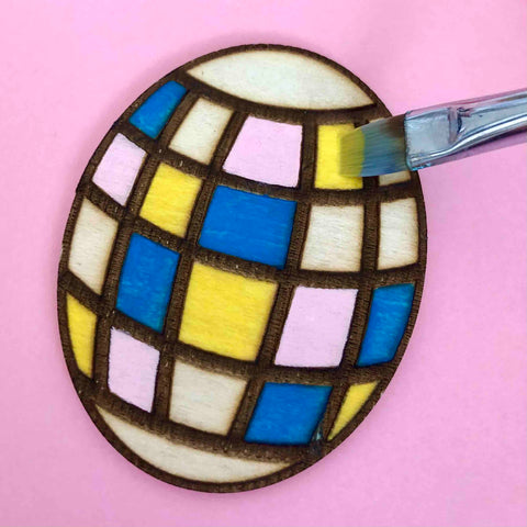 easter eggs painting wood etched magnet