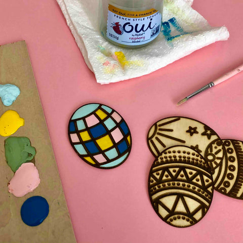 acrylic paint paintbrush diy project wood etched magnets easter eggs