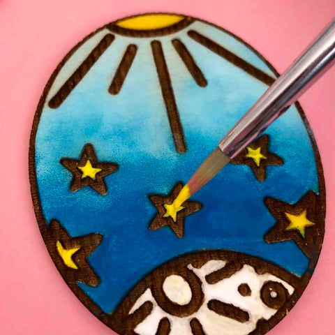 starry sky moon sun wood etched magnet diy
