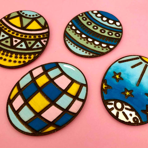 easter eggs wood etched magnets stencil diy
