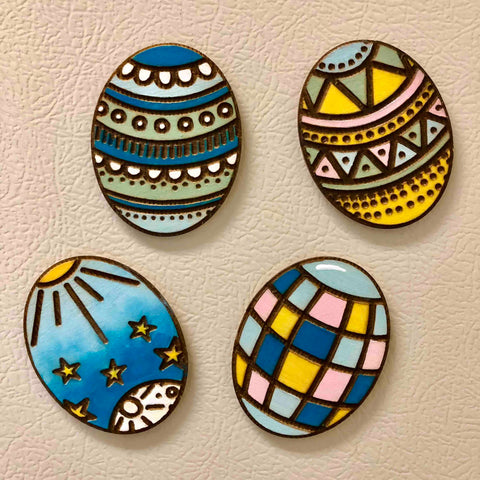 magnets fridge wood etched easter eggs diy
