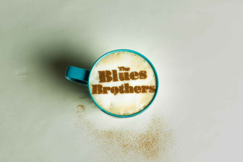 Blue Brothers Stencil on Top of Coffee