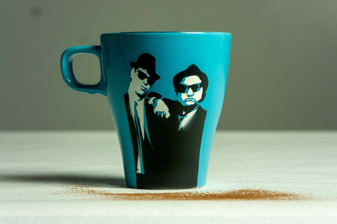 Blues Brothers Stenciled Coffee Mug