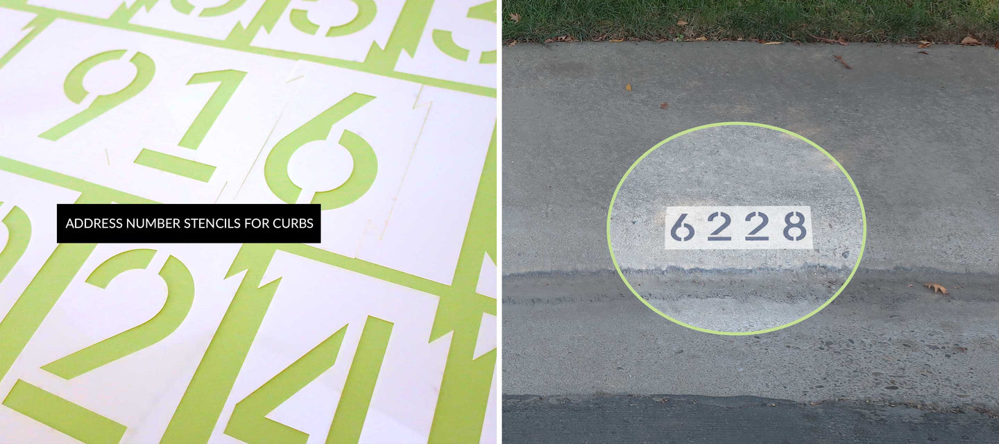 Curb Address Number Stencils and Painted Curb