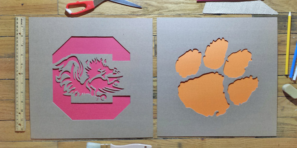 Early South Carolina Gamecocks Stencils - Made with Cardboard