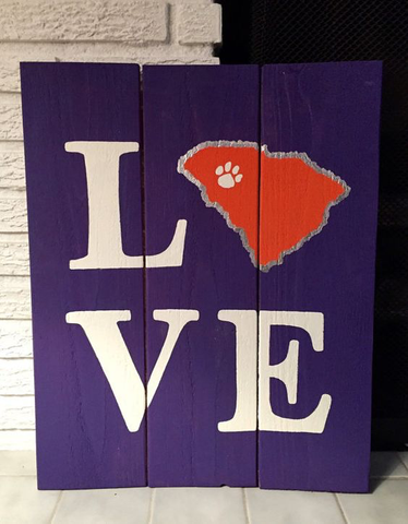 Stencil Stop - Love Clemson South Carolina Wood Sign