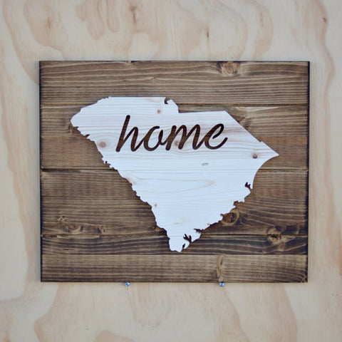 Stencil Stop - South Carolina Home Sign on Wood