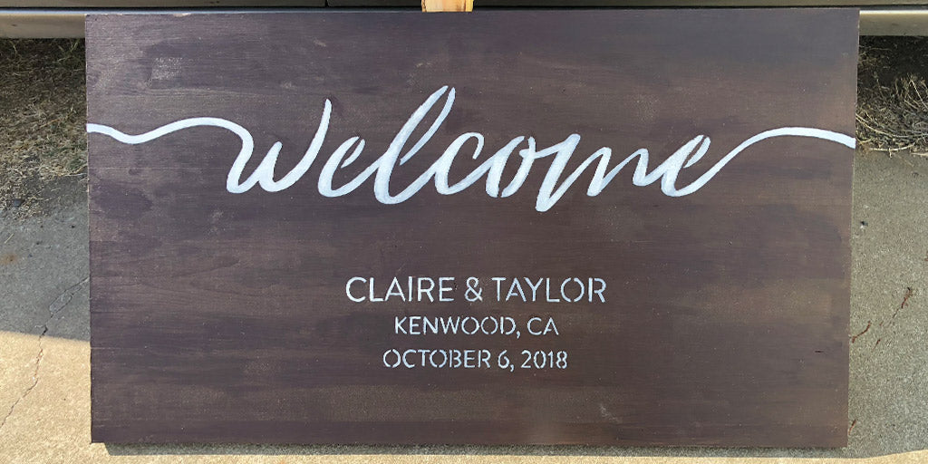 """Welcome"" Wedding Sign with Touch-Up Paint Added"