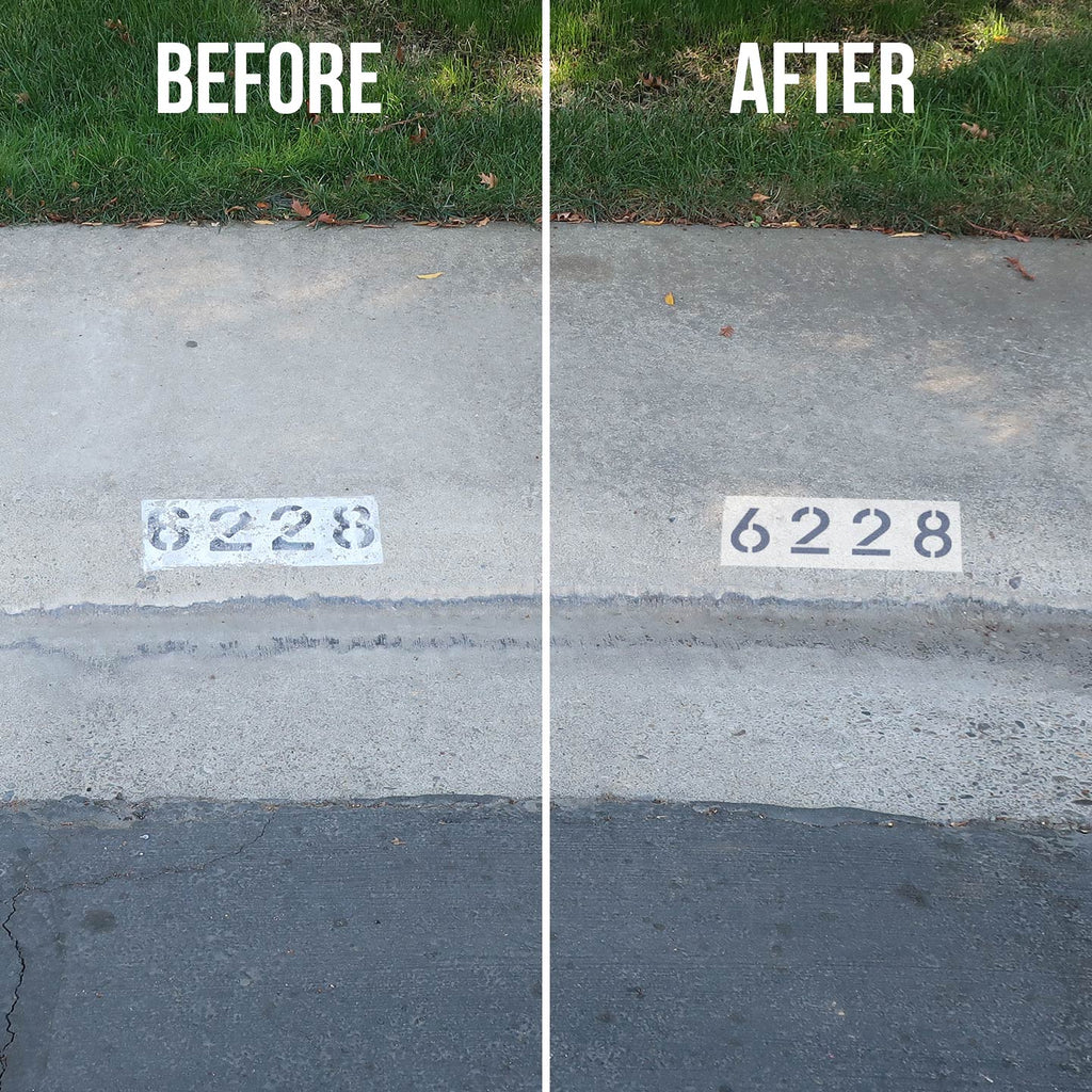 Before and After Using Stencils on Curb
