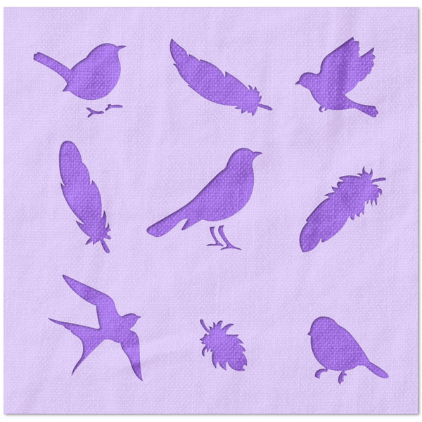 Bird and Feather Pattern Stencil