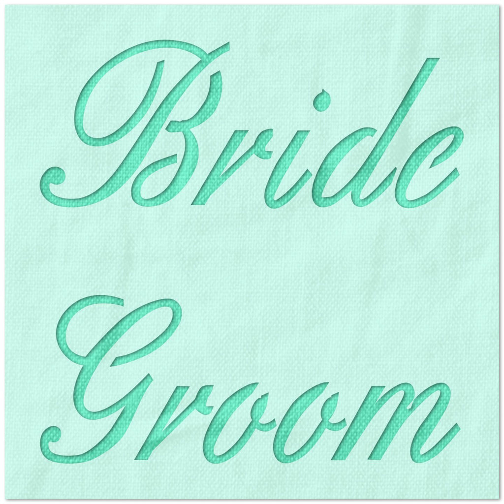 Bride and Groom Cursive Stencil