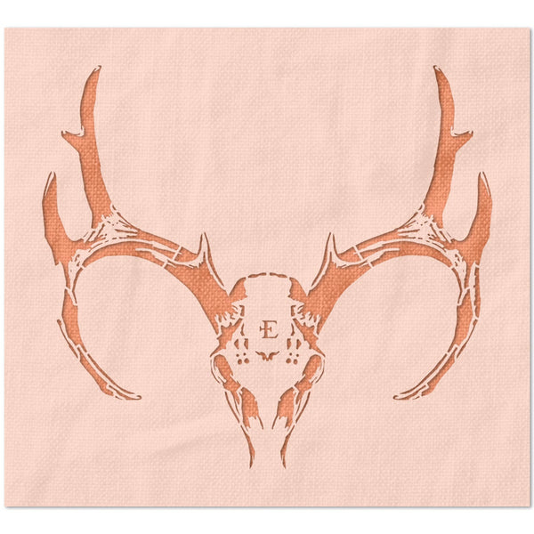 Deer Skull and Antlers Stencil