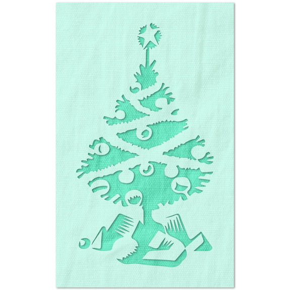 Christmas Tree with Ornaments and Gifts Stencil