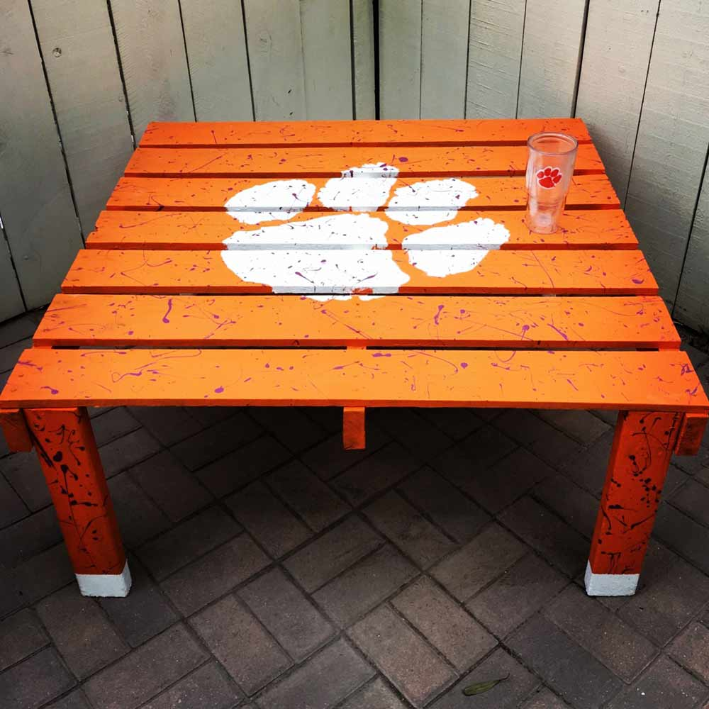 Clemson Stencil on Table